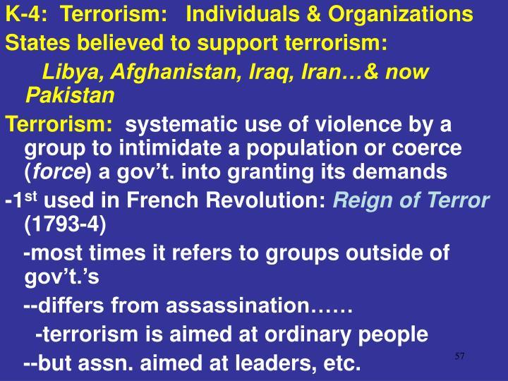 K-4:  Terrorism:   Individuals & Organizations