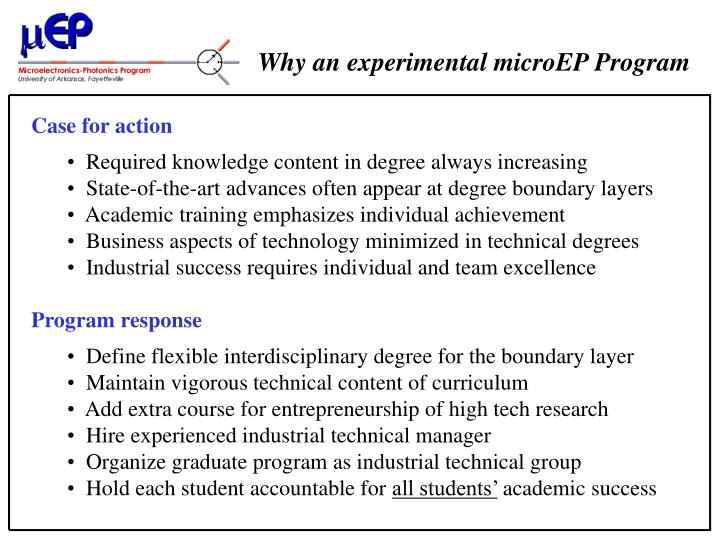 Why an experimental microEP Program