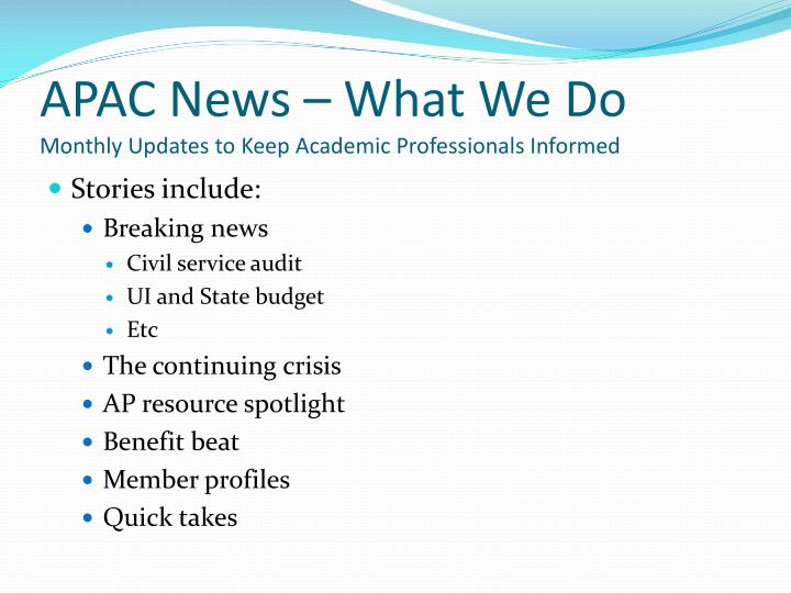 APAC News – What We Do