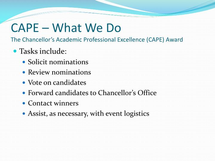 CAPE – What We Do