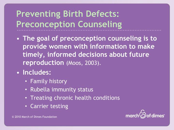 Preventing Birth Defects: Preconception Counseling