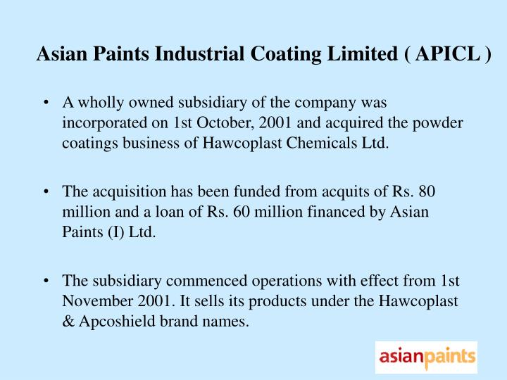 Asian Paints Industrial Coating Limited ( APICL )