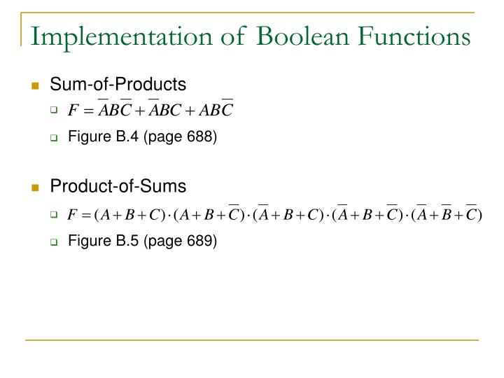 Implementation of Boolean Functions