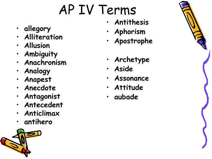 Ap iv terms