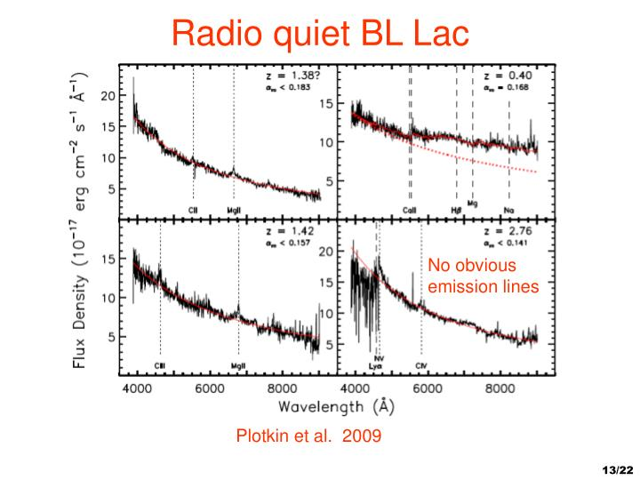 Radio quiet BL Lac