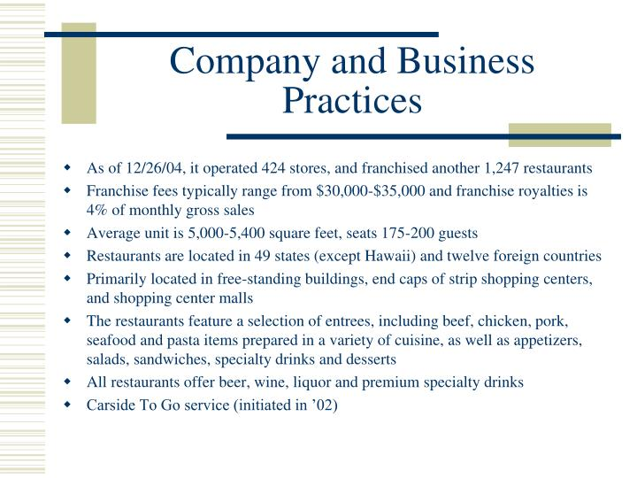 Company and Business Practices