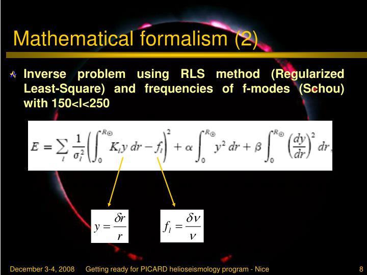 Mathematical formalism (2)