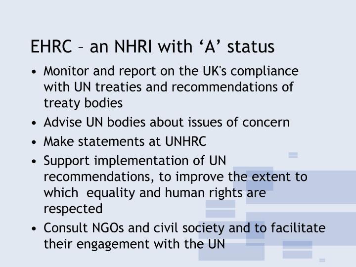 EHRC – an NHRI with 'A' status
