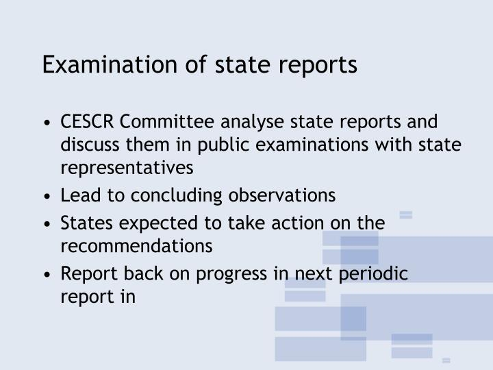 Examination of state reports