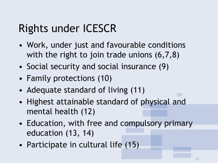 Rights under ICESCR