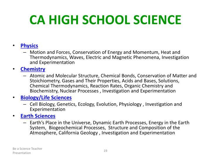 CA High School Science