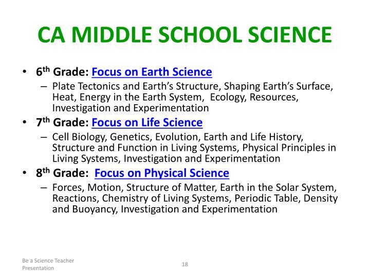 CA Middle School Science
