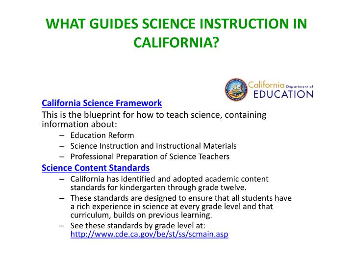 What Guides Science Instruction in California?