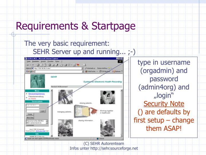 Requirements startpage