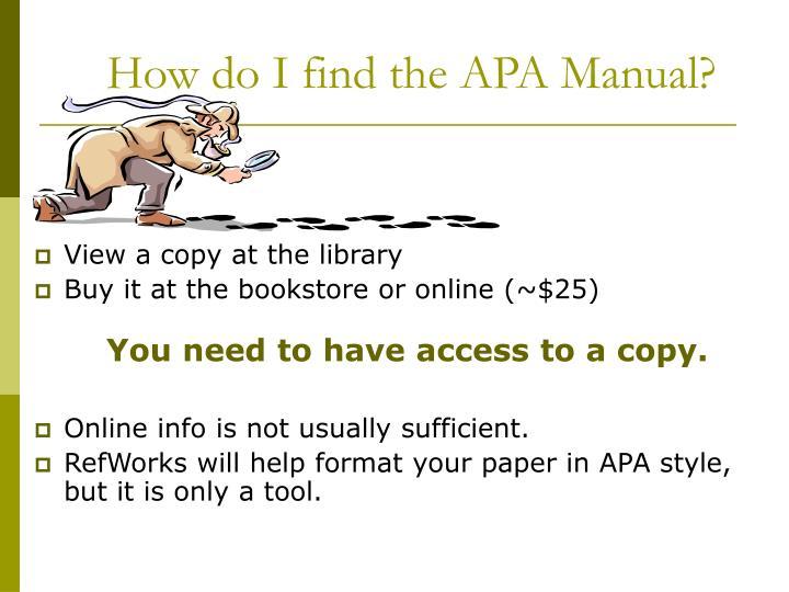 How do I find the APA Manual?