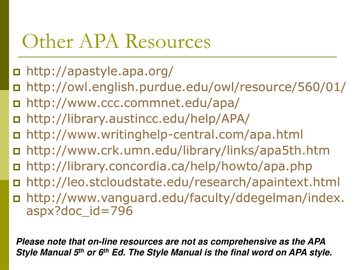 Other APA Resources