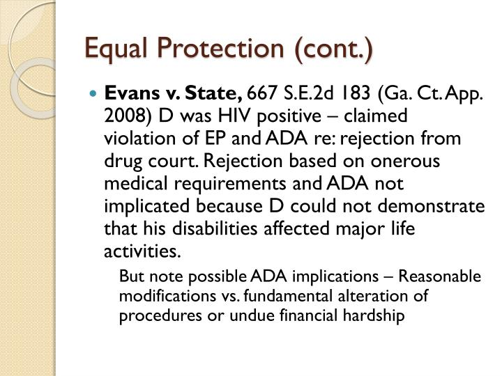 Equal Protection (cont.)