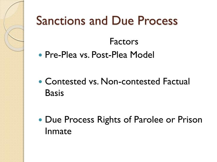 Sanctions and Due Process
