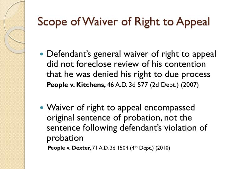Scope of Waiver of Right to Appeal