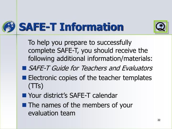 SAFE-T Information