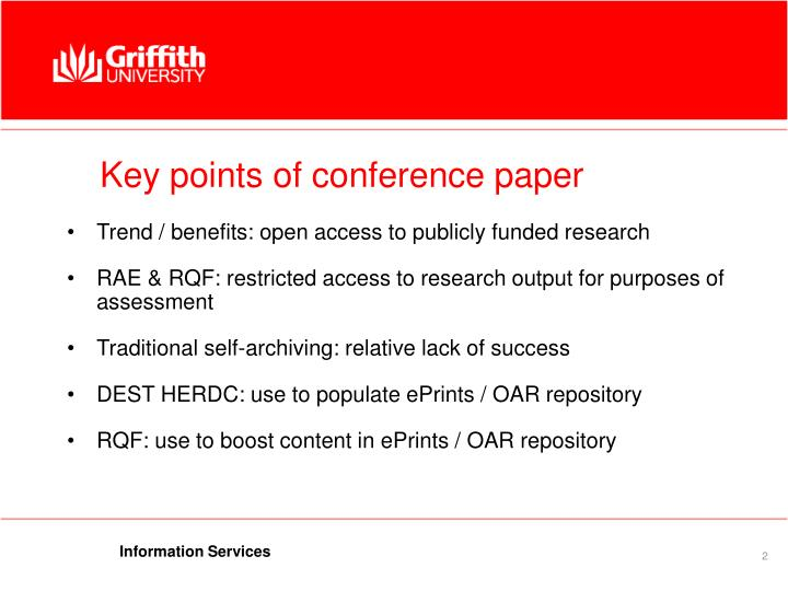 Key points of conference paper