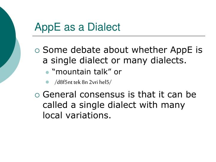 AppE as a Dialect