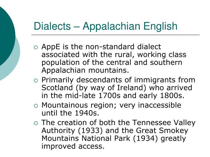 Dialects – Appalachian English