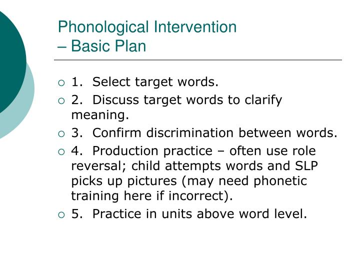 Phonological Intervention