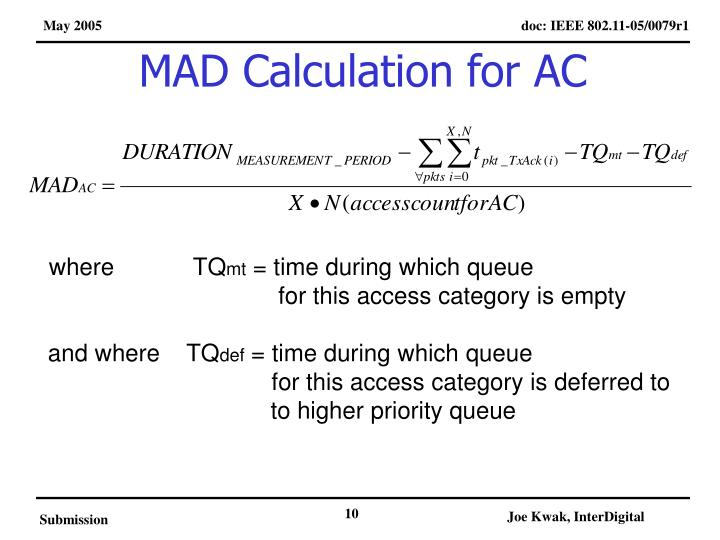 MAD Calculation for AC