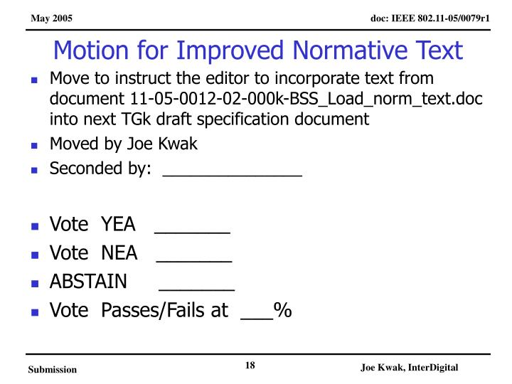 Motion for Improved Normative Text