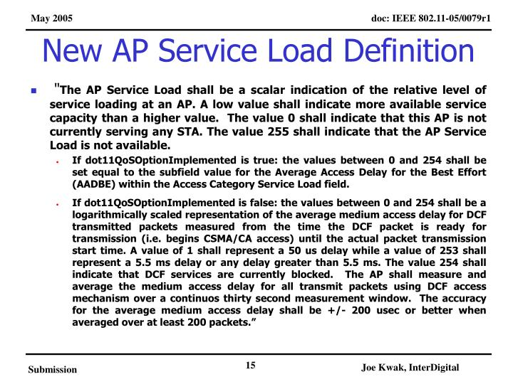 New AP Service Load Definition