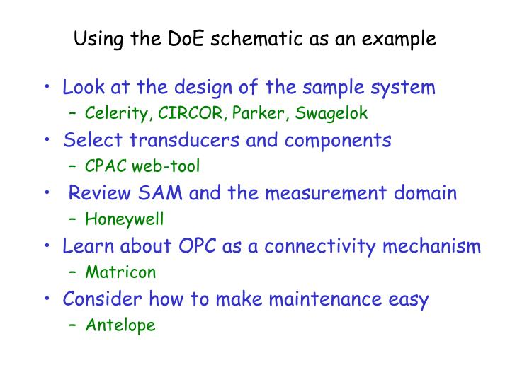 Using the DoE schematic as an example
