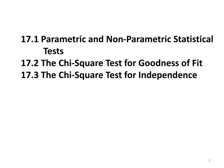17.1 Parametric and Non-Parametric Statistical Tests