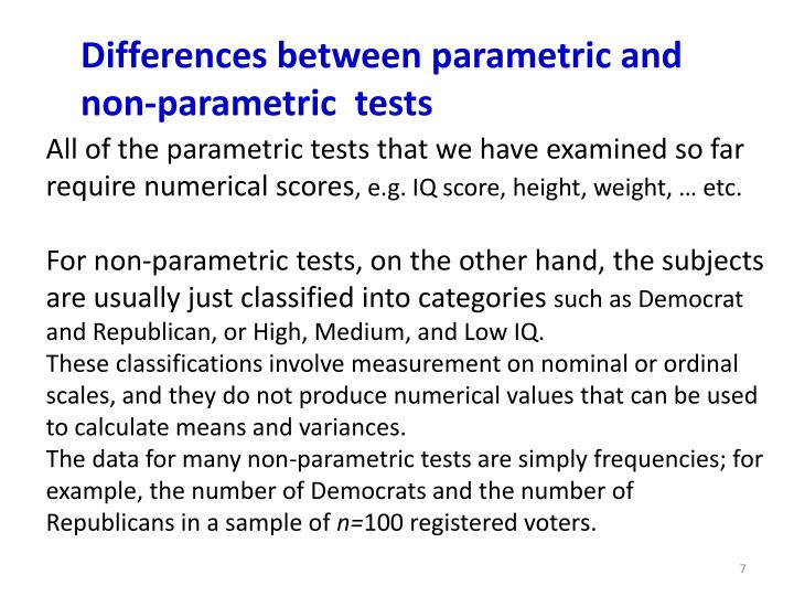 Differences between parametric and non-parametric  tests