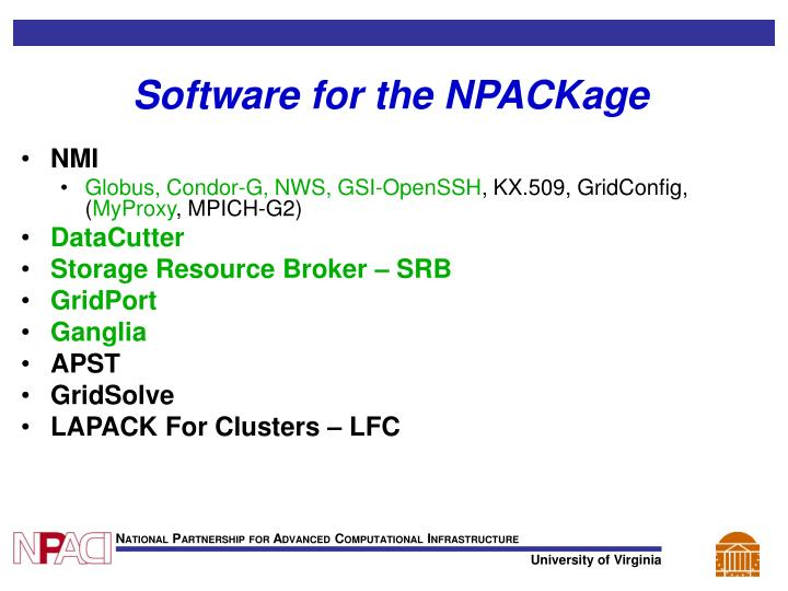 Software for the NPACKage
