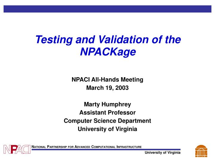Testing and validation of the npackage