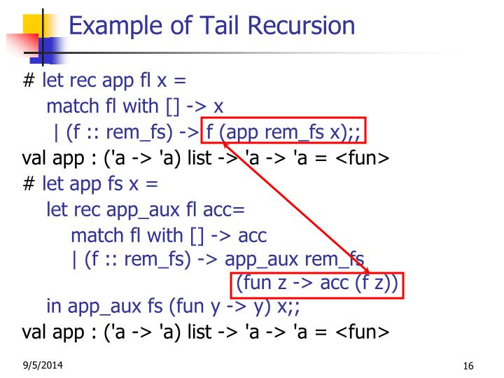 Example of Tail Recursion
