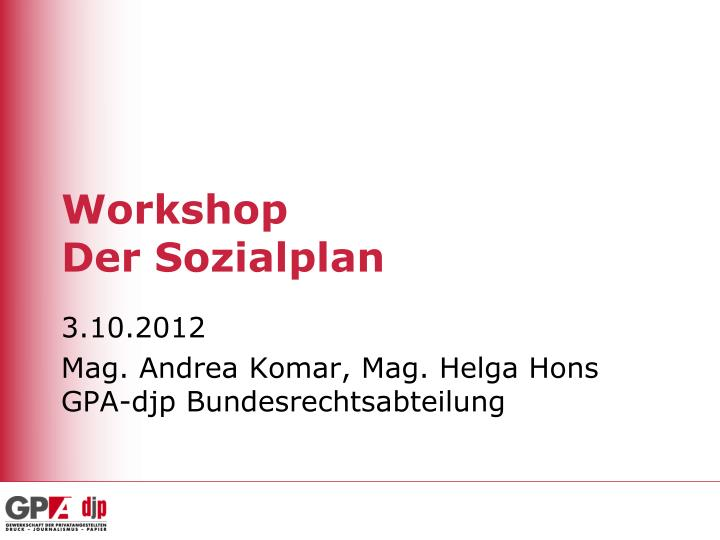 workshop der sozialplan n.