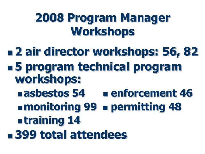 2008 Program Manager Workshops