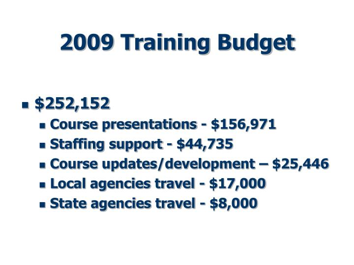 2009 Training Budget