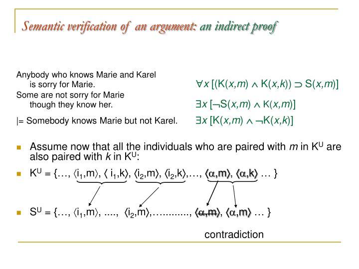 Semantic verification of an argument:
