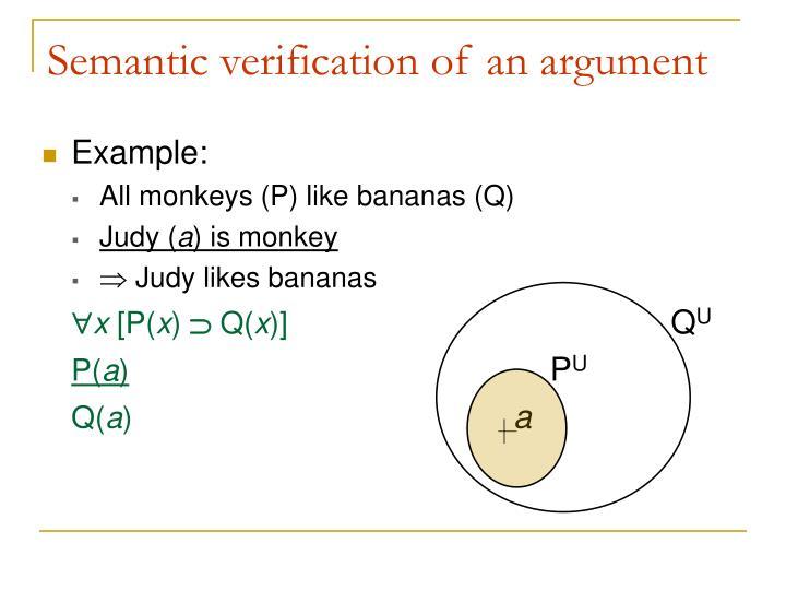 Semantic verification of an argument