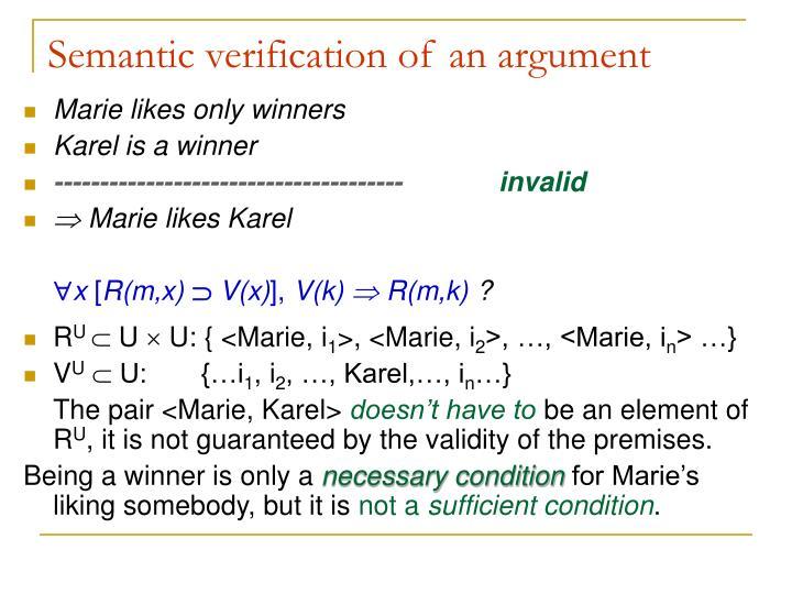 Semantic verification of