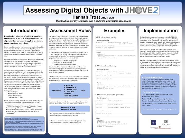 Assessing Digital Objects with