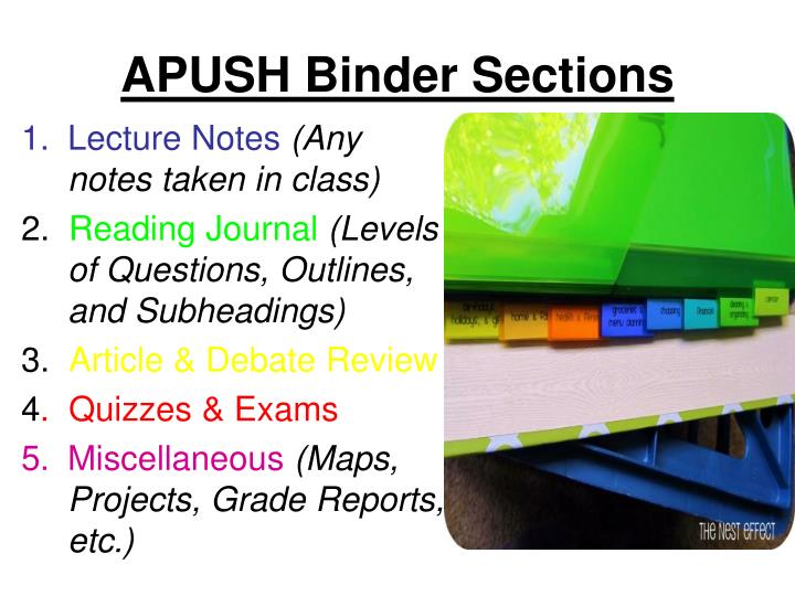 PPT - APUSH Binder Sections PowerPoint Presentation - ID:3949256