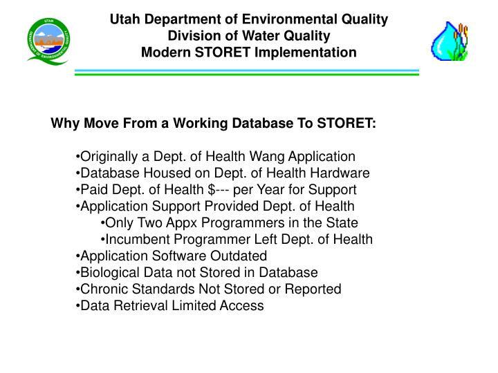 utah department of environmental quality division of water quality modern storet implementation n.