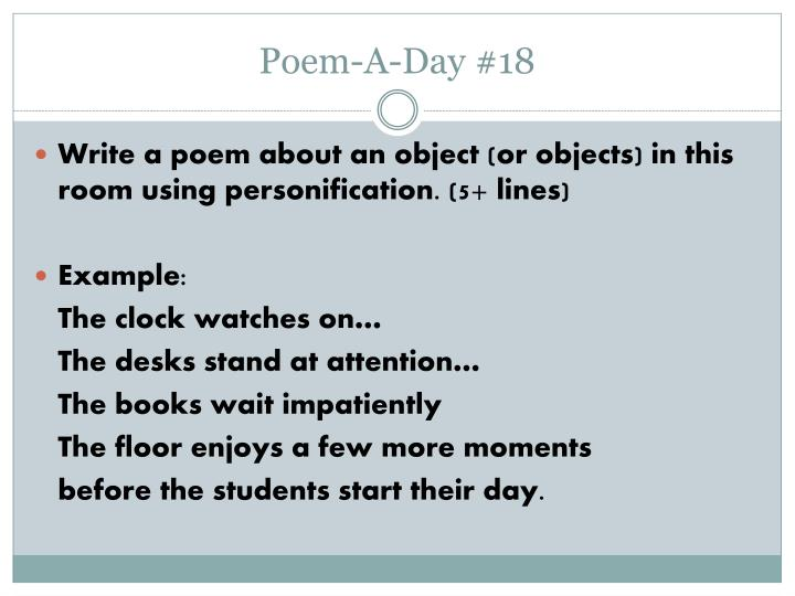 poems about objects personification