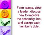 form teams elect a leader discuss how to improve the assembly line and assign each member s duty