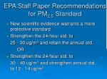 epa staff paper recommendations for pm 2 5 standard