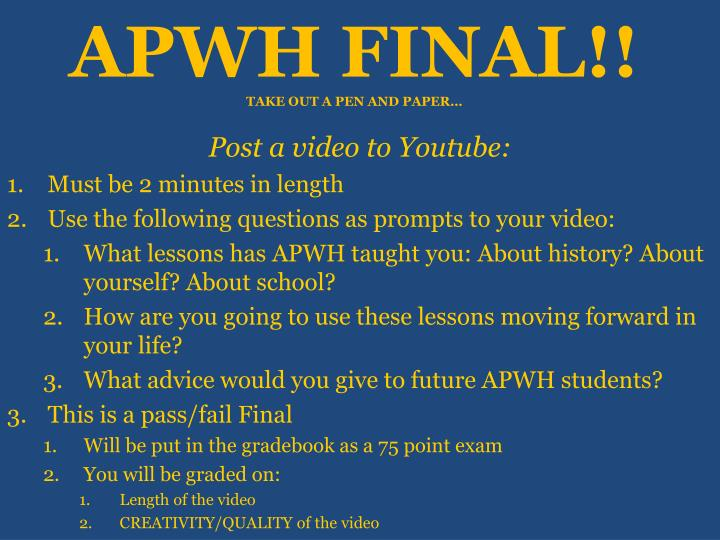 apwh reaction paper Chapter outlines from traditions and encounters: a global perspective on the past, 3rd edition to help you review what you've read, chapter-by-chapter use this information to ace your ap world history quizzes and tests.